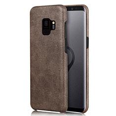 Handyhülle Hülle Luxus Leder Schutzhülle L01 für Samsung Galaxy S9 Braun