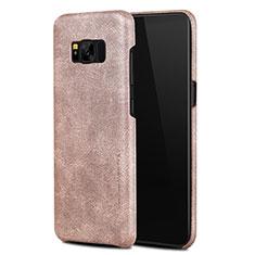 Handyhülle Hülle Luxus Leder Schutzhülle L02 für Samsung Galaxy S8 Rosegold