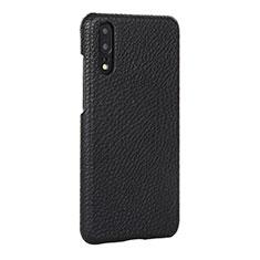 Handyhülle Hülle Luxus Leder Schutzhülle P01 für Huawei P20 Schwarz