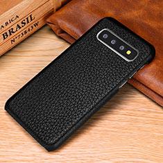 Handyhülle Hülle Luxus Leder Schutzhülle P01 für Samsung Galaxy S10 Schwarz
