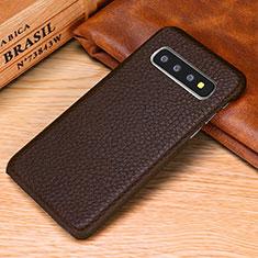 Handyhülle Hülle Luxus Leder Schutzhülle P01 für Samsung Galaxy S10e Braun