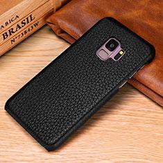 Handyhülle Hülle Luxus Leder Schutzhülle P01 für Samsung Galaxy S9 Plus Schwarz