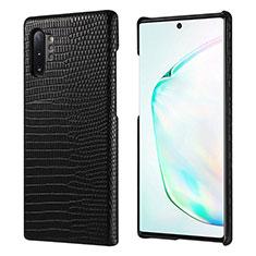 Handyhülle Hülle Luxus Leder Schutzhülle P02 für Samsung Galaxy Note 10 Plus Schwarz