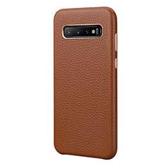 Handyhülle Hülle Luxus Leder Schutzhülle P03 für Samsung Galaxy S10 Plus Braun