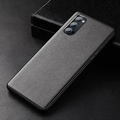 Handyhülle Hülle Luxus Leder Schutzhülle R01 für Oppo Reno4 Pro 5G Schwarz