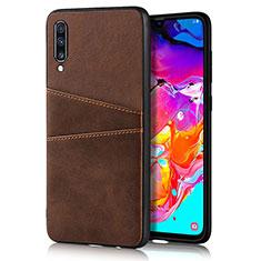 Handyhülle Hülle Luxus Leder Schutzhülle R01 für Samsung Galaxy A70 Braun