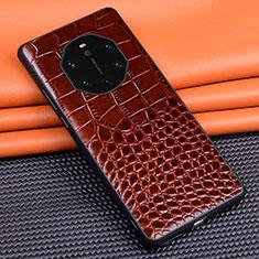 Handyhülle Hülle Luxus Leder Schutzhülle R02 für Huawei Mate 40 RS Braun