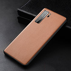 Handyhülle Hülle Luxus Leder Schutzhülle R02 für Huawei Nova 7 SE 5G Braun