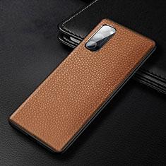 Handyhülle Hülle Luxus Leder Schutzhülle R03 für Oppo Reno4 Pro 5G Braun