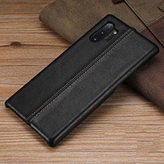 Handyhülle Hülle Luxus Leder Schutzhülle R03 für Samsung Galaxy Note 10 Plus 5G Schwarz