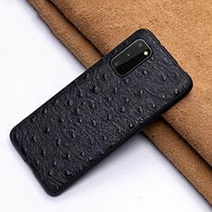 Handyhülle Hülle Luxus Leder Schutzhülle R03 für Samsung Galaxy S20 5G Schwarz
