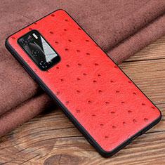 Handyhülle Hülle Luxus Leder Schutzhülle R04 für Huawei P40 Pro Rot