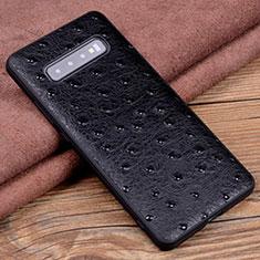 Handyhülle Hülle Luxus Leder Schutzhülle R04 für Samsung Galaxy S10 Plus Schwarz