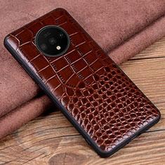 Handyhülle Hülle Luxus Leder Schutzhülle R05 für OnePlus 7T Braun