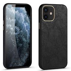 Handyhülle Hülle Luxus Leder Schutzhülle R06 für Apple iPhone 12 Mini Schwarz