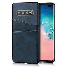 Handyhülle Hülle Luxus Leder Schutzhülle R06 für Samsung Galaxy S10 Plus Blau