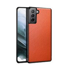 Handyhülle Hülle Luxus Leder Schutzhülle S01 für Samsung Galaxy S21 5G Orange