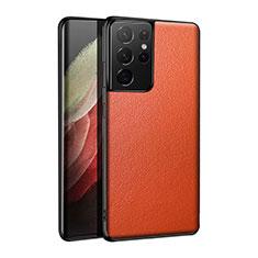 Handyhülle Hülle Luxus Leder Schutzhülle S01 für Samsung Galaxy S21 Ultra 5G Orange