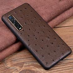 Handyhülle Hülle Luxus Leder Schutzhülle S02 für Oppo Find X2 Pro Braun