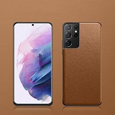 Handyhülle Hülle Luxus Leder Schutzhülle S02 für Samsung Galaxy S21 Ultra 5G Braun