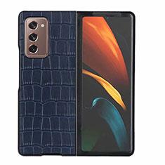 Handyhülle Hülle Luxus Leder Schutzhülle S02 für Samsung Galaxy Z Fold2 5G Blau