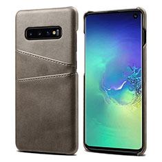 Handyhülle Hülle Luxus Leder Schutzhülle S03 für Samsung Galaxy S10 Grau