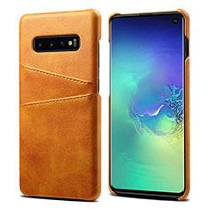 Handyhülle Hülle Luxus Leder Schutzhülle S03 für Samsung Galaxy S10 Orange