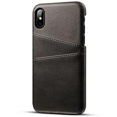 Handyhülle Hülle Luxus Leder Schutzhülle S06 für Apple iPhone Xs Schwarz