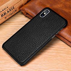 Handyhülle Hülle Luxus Leder Schutzhülle S10 für Apple iPhone X Schwarz