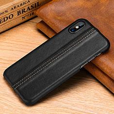 Handyhülle Hülle Luxus Leder Schutzhülle S11 für Apple iPhone X Schwarz