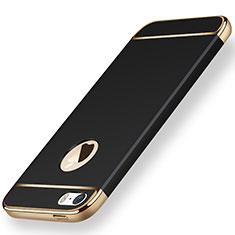 Handyhülle Hülle Luxus Metall Rahmen und Kunststoff für Apple iPhone SE Schwarz