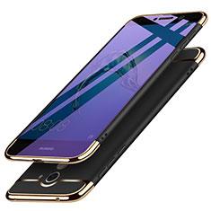 Handyhülle Hülle Luxus Metall Rahmen und Kunststoff für Huawei Enjoy 7 Plus Schwarz