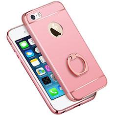 Handyhülle Hülle Luxus Metall Rahmen und Kunststoff mit Fingerring Ständer A01 für Apple iPhone 5S Rosa