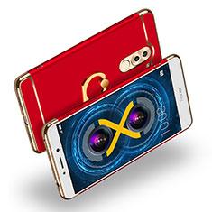 Handyhülle Hülle Luxus Metall Rahmen und Kunststoff mit Fingerring Ständer A02 für Huawei Honor 6X Rot