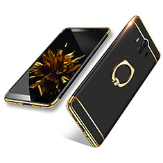 Handyhülle Hülle Luxus Metall Rahmen und Kunststoff mit Fingerring Ständer A02 für Huawei Mate 10 Schwarz
