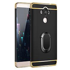 Handyhülle Hülle Luxus Metall Rahmen und Kunststoff mit Fingerring Ständer A03 für Huawei Mate 9 Schwarz