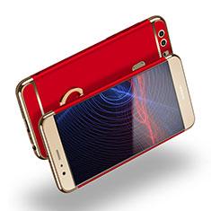 Handyhülle Hülle Luxus Metall Rahmen und Kunststoff mit Fingerring Ständer A03 für Huawei P9 Plus Rot