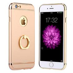 Handyhülle Hülle Luxus Metall Rahmen und Kunststoff mit Fingerring Ständer A05 für Apple iPhone 6S Gold