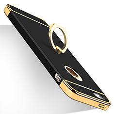 Handyhülle Hülle Luxus Metall Rahmen und Kunststoff mit Fingerring Ständer für Apple iPhone 5 Schwarz