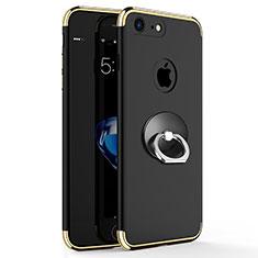 Handyhülle Hülle Luxus Metall Rahmen und Kunststoff mit Fingerring Ständer für Apple iPhone 7 Schwarz
