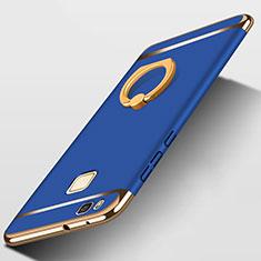 Handyhülle Hülle Luxus Metall Rahmen und Kunststoff mit Fingerring Ständer für Huawei G9 Lite Blau