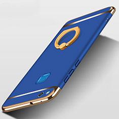 Handyhülle Hülle Luxus Metall Rahmen und Kunststoff mit Fingerring Ständer für Huawei GR3 (2017) Blau