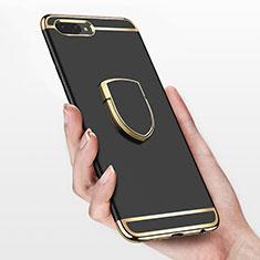 Handyhülle Hülle Luxus Metall Rahmen und Kunststoff mit Fingerring Ständer für Huawei Honor 10 Schwarz