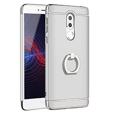 Handyhülle Hülle Luxus Metall Rahmen und Kunststoff mit Fingerring Ständer für Huawei Honor 6X Silber