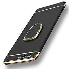 Handyhülle Hülle Luxus Metall Rahmen und Kunststoff mit Fingerring Ständer für Huawei Honor 9 Schwarz