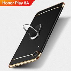 Handyhülle Hülle Luxus Metall Rahmen und Kunststoff mit Fingerring Ständer für Huawei Honor Play 8A Schwarz