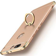 Handyhülle Hülle Luxus Metall Rahmen und Kunststoff mit Fingerring Ständer für Huawei Honor V8 Gold