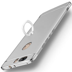 Handyhülle Hülle Luxus Metall Rahmen und Kunststoff mit Fingerring Ständer für Huawei Honor V8 Silber