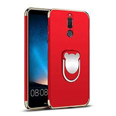 Handyhülle Hülle Luxus Metall Rahmen und Kunststoff mit Fingerring Ständer für Huawei Mate 10 Lite Rot