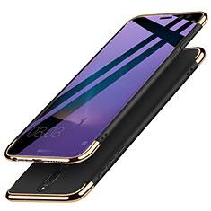Handyhülle Hülle Luxus Metall Rahmen und Kunststoff mit Fingerring Ständer für Huawei Mate 10 Lite Schwarz